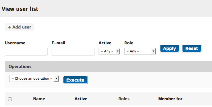 AlbanyWeb's simple interface for managing users.