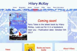 Splash page for Hilary McKay promoting her new book Fairy Tales
