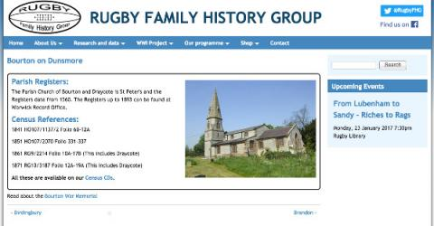 Rugby Family History sample parish listing